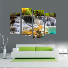 30x80cm 4 Panel The Waterfall With Tree Large HD Picture Art Print Painting On Canvas For Living Room Wall Decor