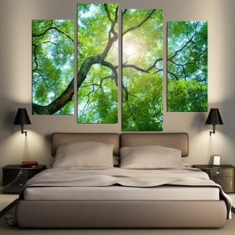 30x80cm 4 Panels No Frame Green Tree Painting Canvas Modern Painting Wall Art Picture Home Decoration - intl