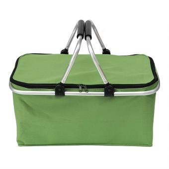 31L Large Capacity Insulated Picnic Food Basket Cooler BagCollapsible with Dual Carrying Handles for Hiking Shopping HolidaysOutdoor Travel Picnic Green - intl