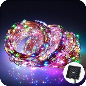 32.8ft 100 LED Waterproof Copper Solar String Lights for Christmas Tree Outdoor Garden Patio Party Wedding Holiday Decoration(Colorful)