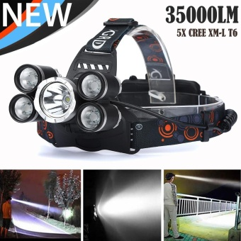 35000 LM 5X XM-L T6 LED Rechargeable Headlamp Headlight Travel Head Torch - intl