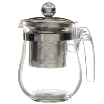 350mL Heat-resisting Clear Glass Teapot Stainless Steel Infuser Flower Tea Pot