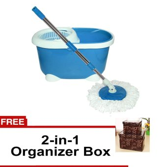 360 Easy Magic Floor Spin Mop Microfiber Rotating Head (Blue) withFREE 2 in 1 Organizer Box-Letter D Design (Brown)