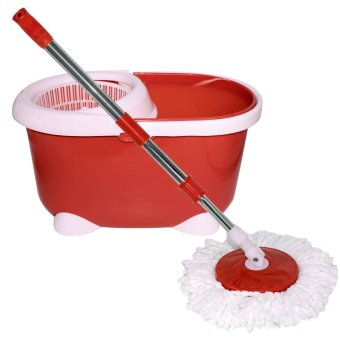 360 Easy Magic Floor Spin Mop Microfiber Rotating Head (Red)