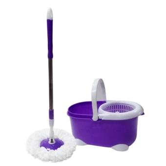 360 Rotating Floor Spin Mop Bucket with 2 Head Microfiber (Violet)