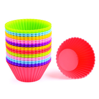 360DSC 24Pcs Silicone Cake Muffin Chocolate Cupcake Liner Egg TartBaking Cup Mold - Random Color Price Philippines