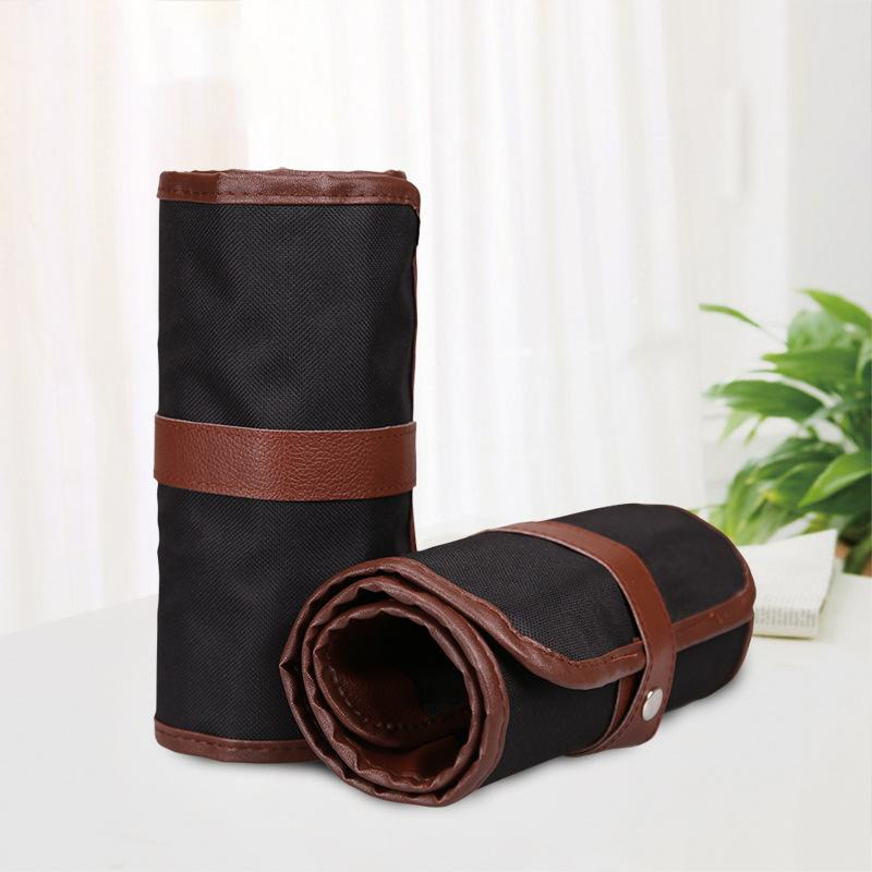 ... Pencils Source 360DSC 36 Hole Multi function Canvas & Leather Roll Up PencilsWrap Case Black