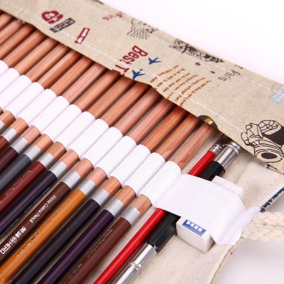 360DSC 48 Hole Canvas Roll-up Wrap Pencil Bag Drawing Brush HolderCase .