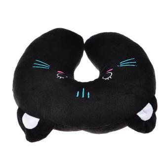 360DSC Cute Black Cat Pattern Design Soft Plush U-shaped NeckPillow Travel Car Home Rest Pillow - Black