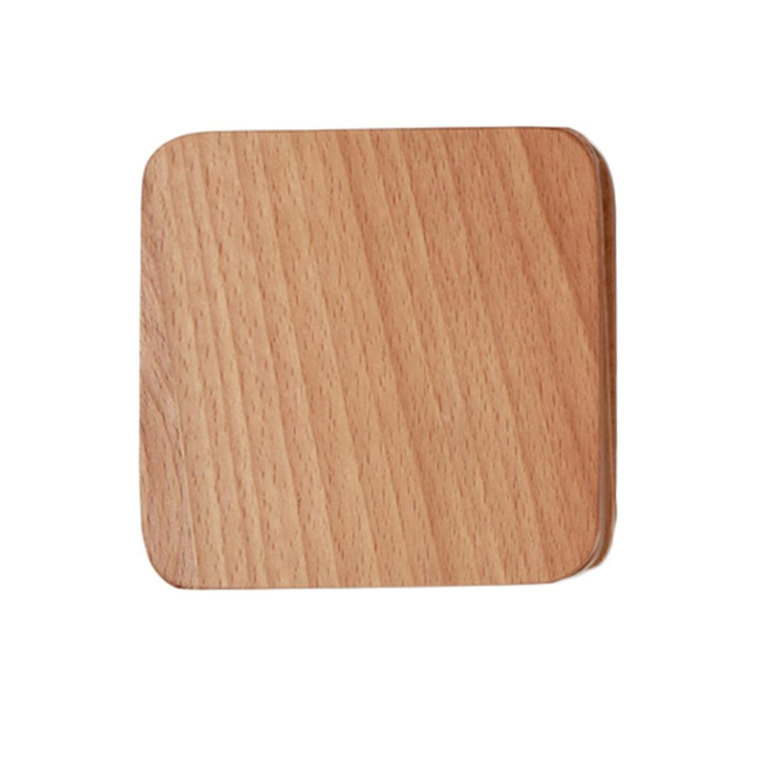 360DSC Japanese Style Beech Coasters Square Shape Solid Wood CupMat Placemat(No Hollow Out) - Burlywood