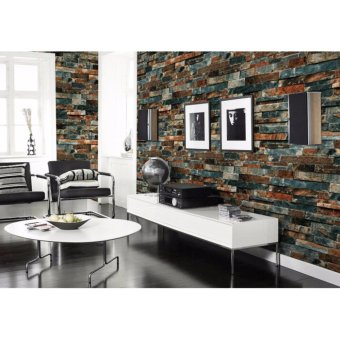 3D Antique Wallpaper Brick Pattern Coffee Shop Background Retro Wall Art DIY Eco-friendly Wall Paper Sticker - intl