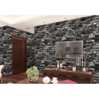 3D Antique Wallpaper Brick Pattern Coffee Shop Background Retro Wall Art DIY Eco-friendly Wall Paper Sticker - intl - 2
