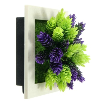 3D Artificial Plant Flower Wall Hanging Decal Photo Frame Home Office Art Decor - intl - 2