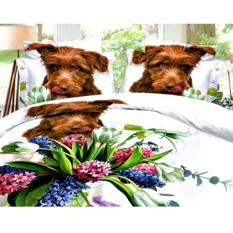 3D Bedsheet Dog Theme Single Queen King Fitted Sheet Cover LinenCollection Bedding Set with Pillowcase
