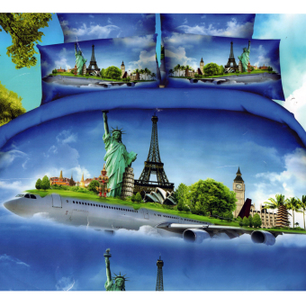 3D Bedsheet Modern World Travel Airplane Theme Single Queen KingFitted Sheet Cover Linen Collection Bedding Set with Pillowcase