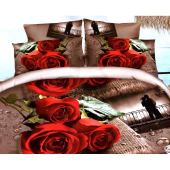 3D Bedsheet Red Roses Theme Single Queen King Fitted Sheet Cover Linen Collection Bedding Set with Pillowcase