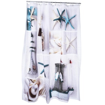 3D Blue Sea Life Seashell Pattern Bathing Shower Curtain Bathroom Decor (Colormix) - intl Price Philippines