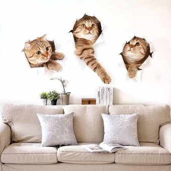 3D Cute Cats Wall Sticker Decal Home Paper PVC Murals HouseWallpaper Bedroom Kids Babys Living Room Art Picture Decoration -intl