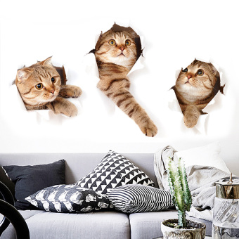 3D cute model bedroom animal wall adhesive paper kitten