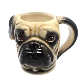 3D Dog Pet Head Shaped Ceramic Mug Cup for Coffee Tea Milk withHandle Gift Pug Head