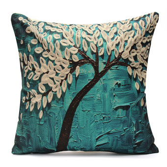 3D Flower Cotton Linen Pillow Case Waist Back Throw Cushion Cover Home Decor