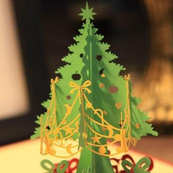 3D Merry Christmas Tree Greeting Cards Message Card ThanksgivingCard - intl - 5