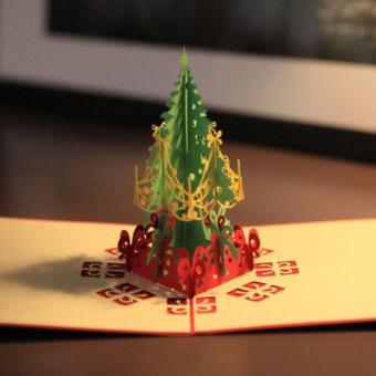 3D Merry Christmas Tree Greeting Cards Message Card ThanksgivingCard - intl - 2