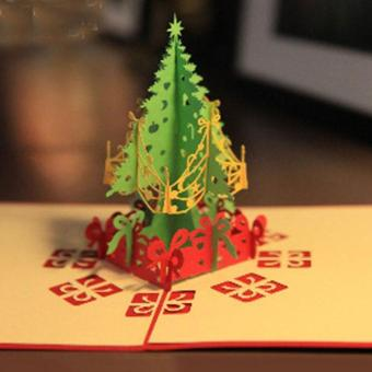 3D Merry Christmas Tree Greeting Cards Message Card ThanksgivingCard - intl - 3