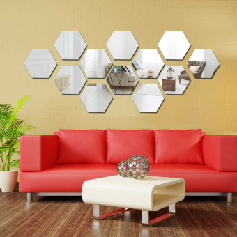 3D mirror hexagonal box Dimensional Wall stickers