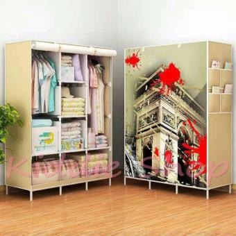 3D Pattern Non-Woven Folding Cloth Wardrobe Home Closet (Buildingdesign color CREAM)