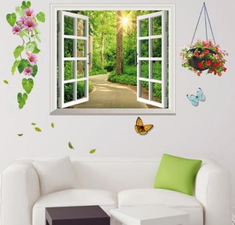 3D three-dimensional wall stickers painting wall wallpaper posters- intl