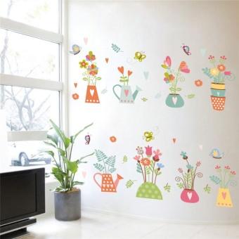 3d Vivid Nature Plant Flower Butterfly Window PVC Wall Sticker Home Decor Decoration DIY Home Wall Decals sticker - intl - 3