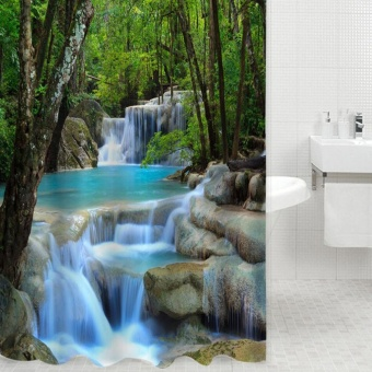 3D Waterfalls Nature Scenery Shower Curtain Water ResistantPolyester Bathroom Gadget - intl Price Philippines