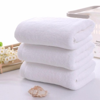 3Pcs 30*60cm White Big Towel Household Hotel Bath Towel Soft 100% Cotton Washcloths Hand Face Towel White - intl