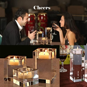 3pcs Different sizes Crystal glass Candle Holders Square solidproposal Wedding Candlestick Decoration - intl - 2