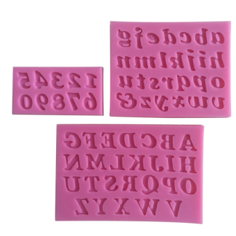 3PCS Mini Silicone Cake Mould Handmade Letter And Number Fondant Craft Cake Decorating Mold DIY Bakeware For Kitchen Baking Pink
