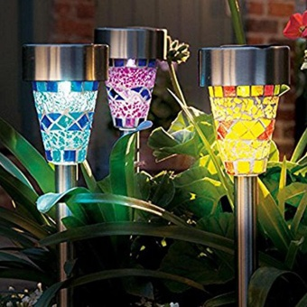 3Pcs Solar Energy Powered Mosaic Decoration Light LED with 3 Colors Lampshades Lawn Lamp Garden Pathway Rechargeable Glass Outdoor Waterproof Buried in the Ground - intl