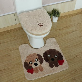 3PCS/Set Bathroom Accessories Winter Toilet Seat Cover Warm CoverAnti-slip Rug Cotton Linter Travel Set Bath Mats Toilet - intl