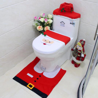 3Pcs/set Bathroom Set Toliet Mat Happy Santa Toilet Seat Cover andRug Cute Tank Lid and Tissue Box Christmas Decorations