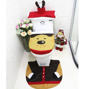 3Pcs/set Fashion Deer Toilet Seat Cover Bathroom Mat Set DurableTank Cover and Contour Rug Christmas Decorations