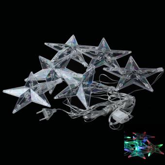 3W 100lm 6-LED RGB Stars Shaped Christmas Decorative Lamp Light String - Silver (4M / 220V / EU Plug)