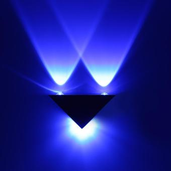 3W LED Aluminum Triangle Wall Lamp Modern Home Decoration Light Blue - intl