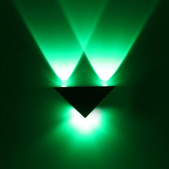 3W LED Aluminum Triangle Wall Lamp Modern Home Decoration Light Green - intl