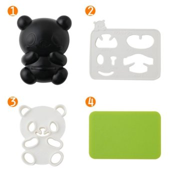 4 in 1 Bento Accessories Baby Panda Rice Mold Onigiri Shaper andDry Roasted Seaweed Cutter Set