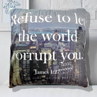 4 in 1 Celebrity Fleece Throw Pillow Blanket Bed Mat James 1:27 Bible Verse (Multicolor)