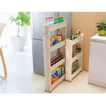 4 Layers 4 Colors White Gap Storage Shelf For Kitchen StorageSkating Movable Plastic Bathroom Shelf Save Space Rack - intl