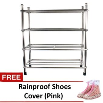 4 Layers Stainless Steel Stackable Shoe Rack
