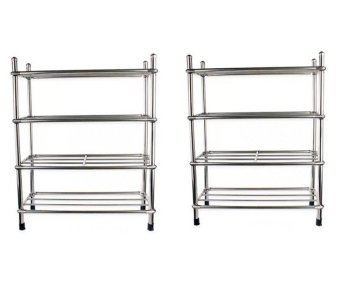 4 Layers Stainless Steel Stackable Shoe Rack Set of 2