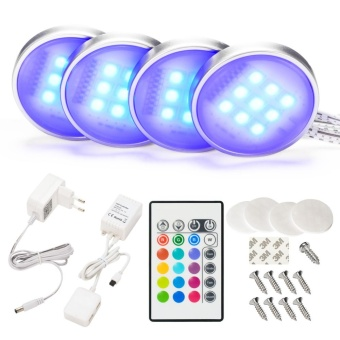 4 Pack Dimmable RGB LED Under Cabinet Lighting, Remote Control Closet Lighting 16 Colors for Kitchen - intl