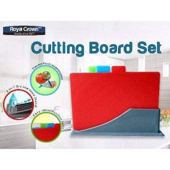 4 pc. Color Coded Chopping Board Set / Cutting Board Set w/ StorageCase & Gift Box